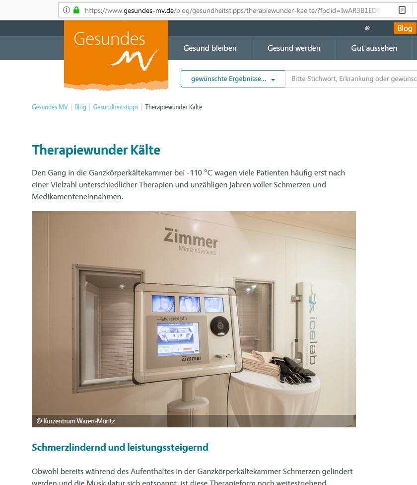 Blogbeitrag Ganzkörperkältetherapie aus dem Kurzentrum Waren (Müritz) auf gesundes-mv.de