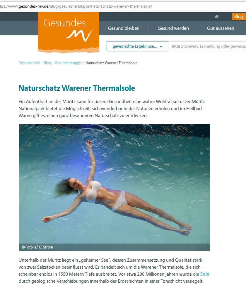 Blogbeitrag Thermalsole aus dem Kurzentrum Waren (Müritz) auf gesundes-mv.de